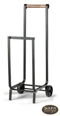 Carry firewood with ease and style. This wood cart has wide outboard wheels and will not mar your fine floors.