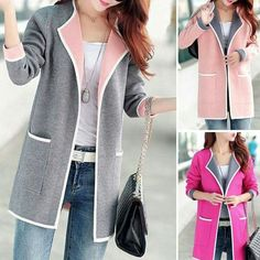 Women's Clothing Coat Sweater Cardigan For Women Oversized 2018 New Autumn Winter Sweaters Korean Style Female Fashion Tops 050 Trendy Tops For Women, Cardigans For Women, Winter Tops For Women, Women's Cardigans, Cool Outfits, Casual Outfits, Fashion Outfits, Fashion Coat, Women's Jackets