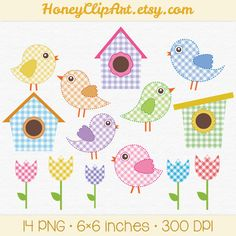 Digital Bird Clip Art, Baby Bird Clipart, Pink Gingham, Blue Birdhouse Clipart, Tulip Clipart, Spring Flowers, Summer Scrapbook