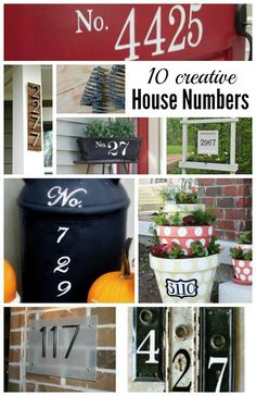 10 Creative House Number Ideas ~ Cute ideas for your front porch. Curb Appeal by Outdoor Projects, Outdoor Decor, Reno, House Numbers, Inspired Homes, Diy Projects To Try, Porch Decorating, Curb Appeal, Home Deco
