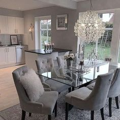 chairs - 124 outstanding dining room table decor ideas page 8 Dining Room Table Decor, Dining Room Design, Living Room Decor, Dinning Room Ideas, Grey Dinning Room, Glass Dining Table, Dining Area, Dining Rooms, Luxury Dining Room