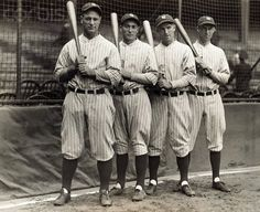Part of the 1927 New York Yankees, nicknamed Murderer's Row. (L-R): Lou Gehrig, Tony Lazzeri, Mark Koenig, and Earle Combs.