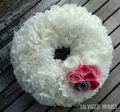 Coffee Filter #Valentines Wreath. I LOVE the tissue paper flowers and the overall fluffiness!