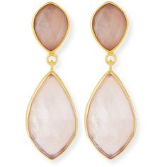 Dina Mackney Rose Quartz Double-Drop Earrings (29.280 RUB) ❤ liked on Polyvore featuring jewelry, earrings, jewelry - earrings, rose, rose jewelry, 18 karat gold jewelry, rose drop earrings, rose quartz drop earrings and drop earrings