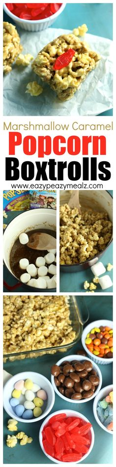 Easy to make marshmallow caramel for caramel popcorn, made into boxes and decorated for a fun Boxtrolls movie night idea! Tasty, easy, and fun! #ad - Eazy Peazy Mealz