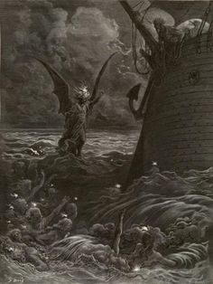 'and the Death fires burned at night'' Illustration from the Rime of the Ancient Mariner by Gustave Dore' Gustave Dore, Dark Fantasy, Fantasy Art, Arte Indie, Dantes Inferno, Psy Art, Sea Monsters, Wood Engraving, French Artists