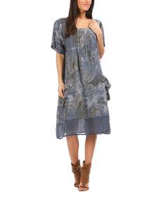 d2c478e7f20 100% LIN BLANC Blue   Gray Tropical Linen A-Line Dress - Women   Plus