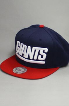 New York Giants Snapback Hat (Navy/Red) by 123SNAPBACKS