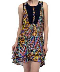 This Potter's Pot Black & Yellow Aztec Sleeveless Dress by Potter's Pot is perfect! #zulilyfinds