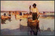 N. C. Wyeth ~ Frank Schoonover     Canoes