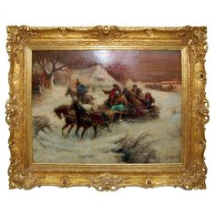 This 19th Century painting was signed illegibly. It is a Russian winter scene with an original gilt frame.