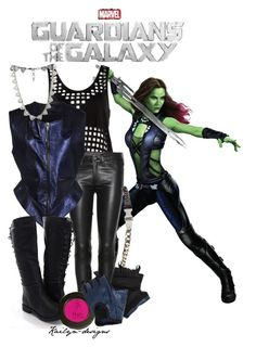 """Gamora"" by kailyn-designs ❤ liked on Polyvore featuring rag & bone, Haider Ackermann, ASOS, adidas, Lucky Brand, movie, marvel and comic"