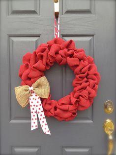 Burlap Wreath with Burlap Bow - Valentine's Day Wreath - Spring Wreath - Red Burlap Wreath. $42.00, via Etsy.