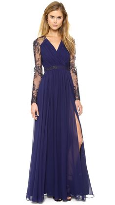 Badgley Mischka Collection - Blue Lace Sleeve V Neck Gown Navy