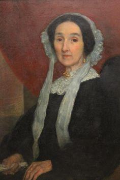 Antique C1830's Oil portrait 'Lady with Bonnet' * ebay.