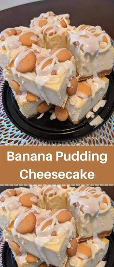 Banana Pudding Desserts, No Bake Banana Pudding, Banana Cheesecake, Easy Cheesecake Recipes, Cheesecake Desserts, Banana Pudding Cream Cheese, Homemade Banana Pudding, Banana Dessert Recipes, Cheesecake Pudding