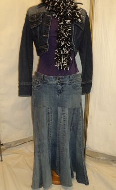 recycled/ upcycled denim skirt from old blue jeans! Visit my shop ---These Old Blues on Etsy!