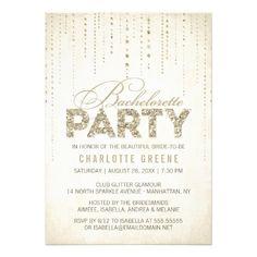 Sparkly Gold Glitter Bachelorette Party Invitation