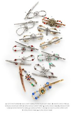 A collection of small sized Flexi clips that showcase all the variations in metals, colors, and bead types. A beautiful and stylish alternative to the plastic hair claw!
