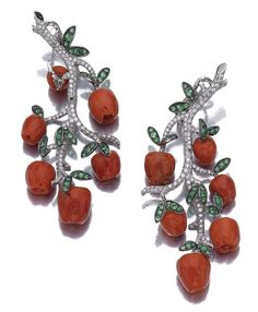 Pair of tsavorite, coral and diamond 'apple' earrings, Michele della Valle - Sotheby's