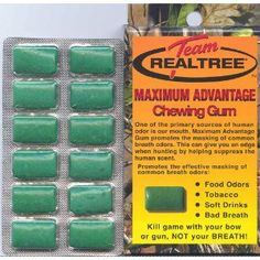 7, BOXES, Team, Realtree, Maximum, Advantage, Chewing Gum, CAMO GUM, CAMOUFLAGE GUM, REAL TREE, 12 PIECES per BOX, Kill, game, with your, bow, or gun, NOT your, BREATH, REAL TREE, GUMS, GUM, Promotes, the, effective, masking, of, common breath odors, food odors, tobacco, soft drinks, bad breath, Chew, 1 piece 20 minutes prior to, hunting, and, every hour thereafter, NEW, IN PACKAGE, [BOOK], UCP609722846752 (Misc.)  http://ge.greatesthometheater.com/ge.php?p=B003VWMVUG  B003VWMVUG