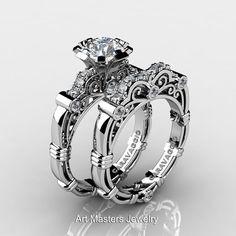 Art Masters Caravaggio 14K White Gold 1.0 Ct White Sapphire Diamond Engagement Ring Wedding Band Set R623S-14KWGDWS