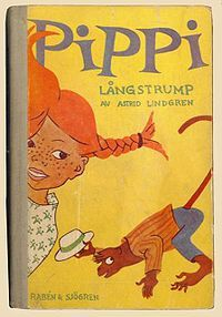 One of my favorite childhood books. Time to revisit it!  Pippi Longstocking (Swedish: Pippi Långstrump) is a 1945 children's novel by the Swedish writer Astrid Lindgren. Lindgren wrote the book for her 8-year-old daughter, who apparently was sick in bed.