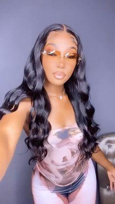 Baddie Hairstyles, Black Girls Hairstyles, Cute Hairstyles, Pretty Black Girls, Beautiful Black Women, Beautiful People, Girl Film, Long Wigs, Black Girl Fashion