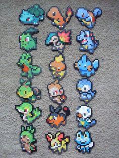 Perler Bead Pokemon Starters Keychains por DesignsByAliselyn
