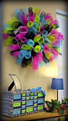 The Simply Scientific Classroom: Spiral Deco Mesh Wreath - Classroom Decor.... If I could figure out how to make these it would be wonderful!