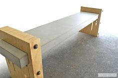 Concrete Wood & Steel Urban/Industrial Bench by FormedStoneDesign, $1700.00 by francisca