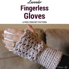 Lavender Fingerless Gloves - Free Crochet Pattern