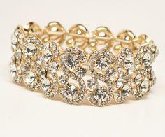 Hair Comes the Bride - Gold Rhinestone Bridal Bracelet ~ Hattie in Gold, $48.00 (http://www.haircomesthebride.com/gold-rhinestone-bridal-bracelet-hattie-in-gold/)