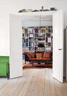 I LOVE book shelves.  Books are fantastic wall art.