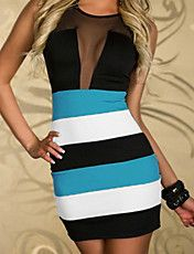 Sexy Style Sleeveless Scoop Neck Voile Splicing Color Block Packet Buttock Dress For Women Club Dresses, Sexy Dresses, Fashion Dresses, Flattering Dresses, Mini Dresses, Cheap Dresses, Mini Dress Clubwear, Marine Uniform, Patchwork Dress