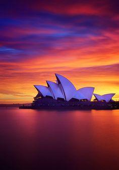 Sunrise over the Sydney Opera House, Australia, photo: Noval. Australia Photos, Sydney Australia, Australia Travel, Western Australia, Places To Travel, Places To See, Travel Destinations, Amazing Sunsets, Amazing Nature