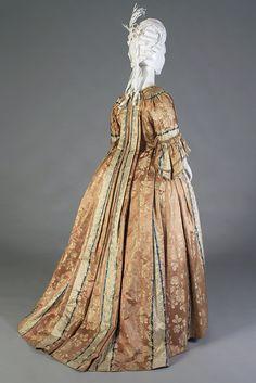 Robe à la française of ombré striped silk lampas, German, ca. 1750s, KSUM 2002.35.7 ab.