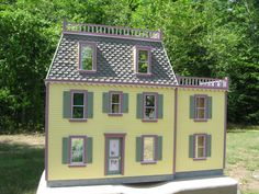 """This is our Bellmont Dollhouse Clapboard siding Milled into the Sides and Front 9 rooms. 38"""" x 12"""" x 27"""" tall.  The Affordable Series 1"""" scale houses are made of 3/8"""" Fiberboard  for the outside walls. The floors are 3/8""""plywood for strength and long life. They come complete with all pieces precision sawn (not stamped) to the finished dimension. The kits also includes Our own Colonial Style Architect's Choice preassembled windows and exterior door, front corner trim, gingerbread trim…"""