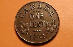 1922 Canada One Cent Coin – HIGHER GRADE! – George V Era Canadian Penny! - 1¢ - http://coins.goshoppins.com/candaian-coins/1922-canada-one-cent-coin-higher-grade-george-v-era-canadian-penny-1%c2%a2/