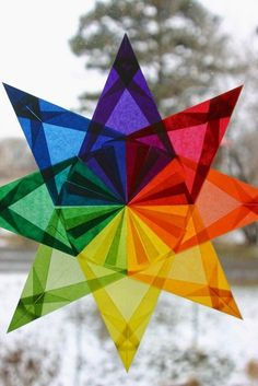 Rainbow Window Star Sun Catcher with 8 Points by harvestmoonbyhand
