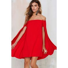 Nasty Gal Sweetest Cape Off-The-Shoulder Dress (87 395 LBP) ❤ liked on Polyvore featuring dresses, red, lace up front dress, very j, red dress, lace up dress and red off shoulder dress