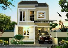House design plans two story small 24 Ideas Country House Design, Modern Farmhouse Design, Dream Home Design, Tiny House Design, Home Design Plans, Modern House Design, Double Storey House, Duplex Design, Minimalist House Design