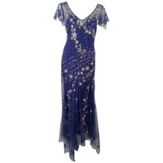 Bellville Sassoon Embellished Midnight Blue Tulle Silk Star Studded... ❤ liked on Polyvore featuring dresses, gowns, midnight blue dress, blue dress, embellished dress, blue evening gown and silk dress