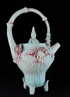 Leafy Rosey Skull Garden Teapot  Medium by ClayChimera on Etsy, $95.00