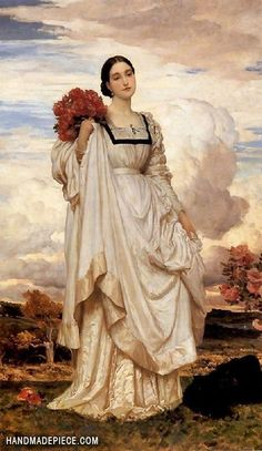 Frederic Leighton: The Countess Brownlow look at the folds on the dress. Lady of the Bedchamber to Adelaide of Saxe-Meiningen, The position is the person holding the official position of personal attendant on a British queen or princess. Frederick Leighton, Pre Raphaelite Paintings, Rose Croix, Victorian Art, Oil Painting Reproductions, Art Plastique, Art Blog, Female Art, Art History