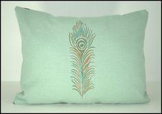 Metallic Peacock Feather  mint color Pillow. $30.00, via Etsy.