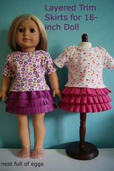 Layered trim skirts for 18-inch doll by nest full of eggs.  This site looks to have lots of doll skirt/clothes ideas and tutorials.