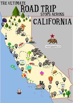More Than 20 The Ultimate Road Trip Map Of Places To See In el último mapa de viaje por carretera de lugares para ver en die ultimative roadtrip-karte der orte, die man gesehen haben muss la migliore mappa dei viaggi su strada da visitare Pacific Coast Highway, West Coast Road Trip, Camping Places, Places To Travel, Travel Destinations, Van Camping, Camping Theme, Beach Camping, California Map