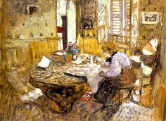 Edouard Vuillard - Madame Vuillard reading in the dining room, 1903