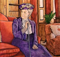 """Colorist Jackie Zoost. From """" Downton Abbey Coloring Book. Artist Gwen Burns. Done with Prismacolor pencils and Staedtler fine liners."""